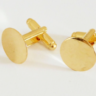 22k Gold Plated Flat Pad Cufflink blanks 15mm 10PC